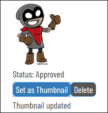 A screencap of the Bandit character thumbnail being set as the primary reference
