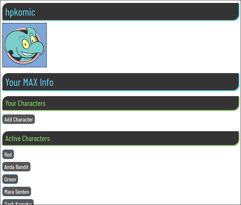 A screencap of Manage Profile page of MAX