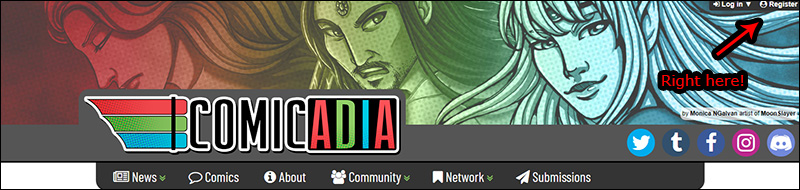 The option to register is found in the top right of all Comicadia pages