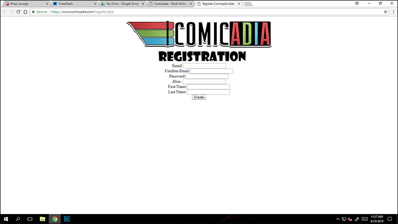 A screencap of the registration page